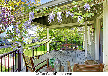 stol, hus, flowers., front porch