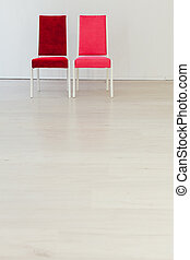 stol, inre, vit, två, kontor, tom