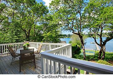 stol, insjö, stort, yttre, bord, hem, utsikt., balkong