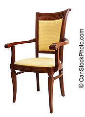 stol, isoleret, på hvide, baggrund