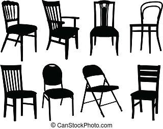 stol, kollektion, -, vektor