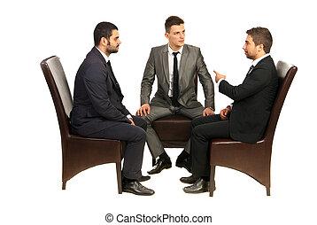 stol, konversation, män, ha, affär