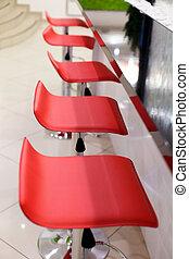 stol, läder, restaurant., komfortabel, säte