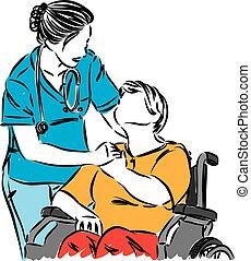 stol, läkare, hjul, tålmodig, illustration, vektor