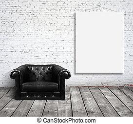 stol, och, affisch, på, vägg