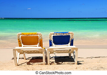 stol, på, sandet strand