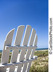 stol, på, strand.