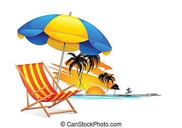 stol, på, strand