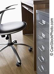 stol, skrivbord, filning, tom, kabinett