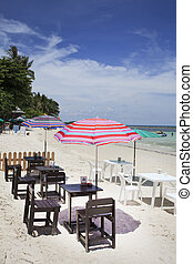 stol, strand, avkopplande, däck