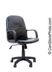 stol, svart, isolerat, kontor