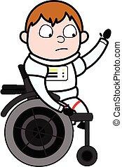 stol, tecknad film, hjul, astronaut