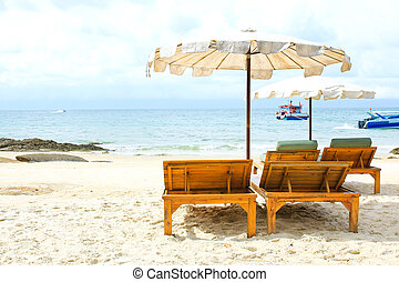 stol, tropisk, sand strand, hvid