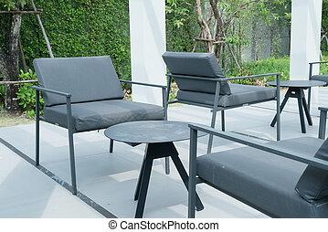 stol, utomhus, uteplats, däck