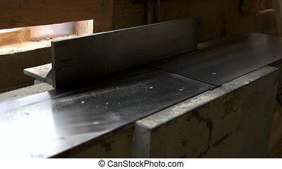 stolarz, ręka, drewno, plank., pracujący