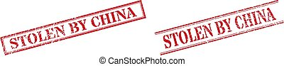 STOLEN BY CHINA Grunge Rubber Seal Stamps with Double Rectangle Frame
