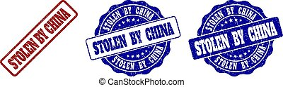 STOLEN BY CHINA Grunge Stamp Seals