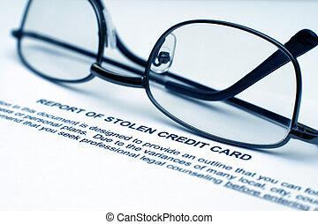 Stolen credit card report