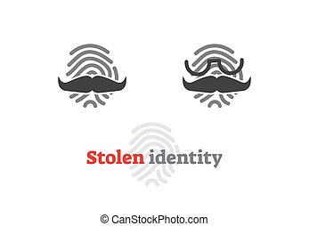 Stolen identity concept icon. Vector illustration with...