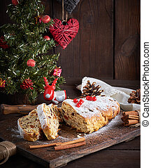 Stollen a traditional European cake with nuts and candied fruit