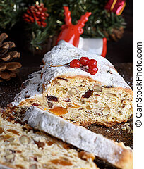 Stollen baked a traditional European cake with nuts and candied fruit