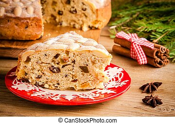 Stollen cake on a wooden table