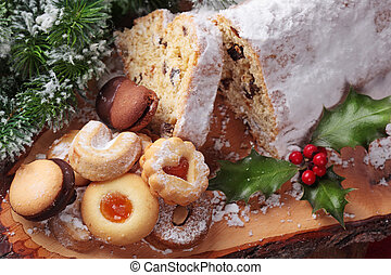 Stollen cake with holly berry leaf