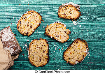 Stollen peaces on the table