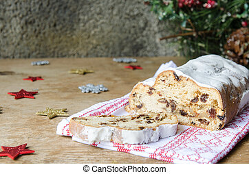 Stollen, traditional Christmas cake of Germany.
