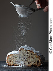 stollen with icing sugar