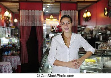 stolt, liten, kvinnlig, ägare, business:, cafe