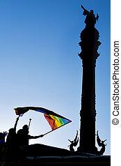 stolz, barcelona, spanien, festumzug, gay