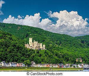 Stolzenfels Castle at Rhine Valley (Rhine Gorge) near Koblenz, Germany. Built in 1842.