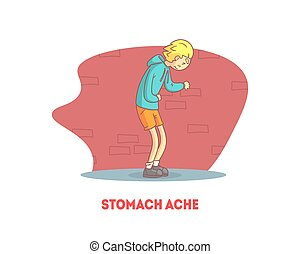 Stomach Ache Banner Template, Boy Suffering from Abdominal ...