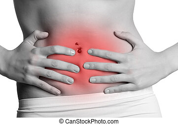 Stomach Ache - Woman suffering from stomach pain