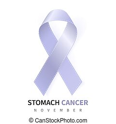 Stomach Cancer Awareness Month. Realistic Periwinkle ribbon symbol. Medical Design. Vector illustration