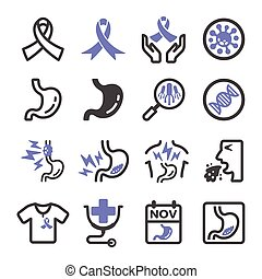 stomach cancer, esophageal cancer icon set