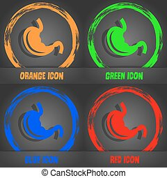Stomach icon. Fashionable modern style. In the orange, green, blue, red design. Vector