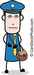 Stomach Pain - Postman Cartoon Courier Guy Vector Illustration