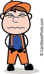 Stomach Pain - Retro Cartoon Carpenter Worker Vector Illustration?