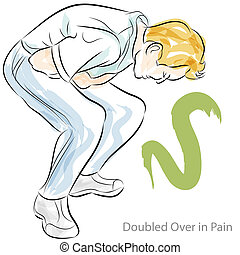 Stomach Pain - An image of a man doubled over in stomach...