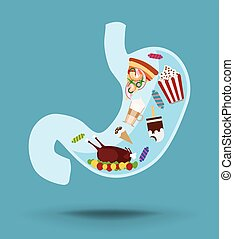 Stomach vector icon with unhealthy food, concept of nutrition
