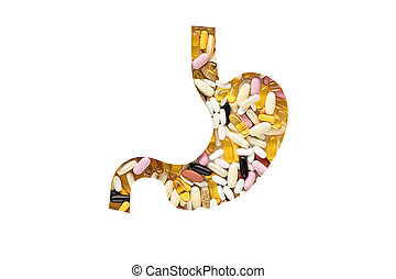 Stomach with pills, on white background. Medical concept