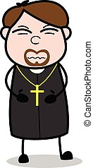Stomachache - Cartoon Priest Religious Vector Illustration