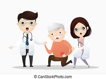 Male doctor helping old man with stomachache. Elderly man suffering from stomachache, Health care. vector, illustration.
