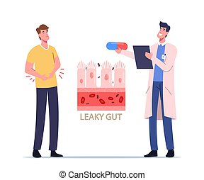 Stomachache, Gastroenterology. Sick Patient Character Touching Diseased Belly Suffer of Stomach Ache causes Leaky Gut