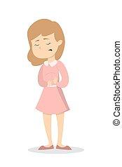 stomachache., mujer