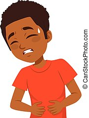 African American little boy touching his belly having terrible stomachache pain