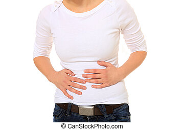Stomachache - Young woman suffering from stomachache. All on...
