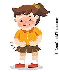 stomaco, lei, urgente, lei, mani, abdomen., ragazza, ache., detenere